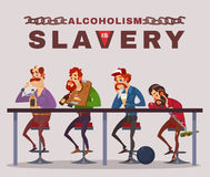 Vector cartoon illustration of men with alcohol addiction, metaphor Stock Images