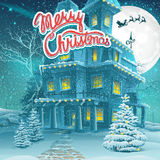 Vector cartoon illustration Merry Christmas Royalty Free Stock Images