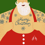 Vector cartoon illustration of mighty Santa Claus chest. Funny cartoon illustration of mighty Santa Claus chest with Christmas tattoos with greeting Royalty Free Stock Images