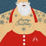 Vector cartoon illustration of mighty Santa Claus chest. Funny cartoon illustration of mighty Santa Claus chest with Christmas tattoos with greeting Stock Photo