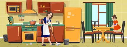 Vector mother and girl cleaning kitchen together. Vector cartoon illustration, mother and daughter cleaning kitchen, doing housework together. Housewife mopping royalty free illustration