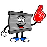 Radiator Mascot with a Foam Hand. A vector cartoon illustration of a motor radiator mascot holding a Foam Finger stock illustration