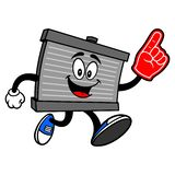 Radiator Mascot running with a Foam Finger. A vector cartoon illustration of a motor radiator mascot running with a Foam Hand royalty free illustration