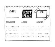 Vector cartoon illustration of nutrition plan. Hand drawn diet plan in doodle style for breakfast, lunch and dinner. Healthy meal. Concept for weight loss stock illustration