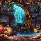 Vector Cartoon Illustration Of A Magical Waterfall Royalty Free Stock Photos