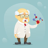 Vector cartoon illustration old funny scientist character wearing glasses and lab coat Royalty Free Stock Photo