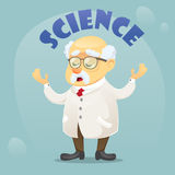 Vector cartoon illustration old funny scientist character wearing glasses and lab coat Royalty Free Stock Images