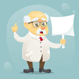 Vector cartoon illustration old funny scientist character wearing glasses and lab coat. Eps10 Royalty Free Stock Photography