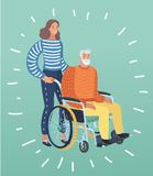 Helping an old man on wheel chair. Vector cartoon illustration of old man disabled in wheelchair with assistance or relative: Helping, care stock illustration