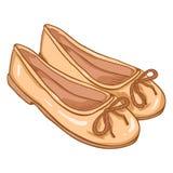 Vector Cartoon Illustration - Pair of Women Ballet Flats. Vector Cartoon Illustration - Pair of Beige Suede Women Ballet Flats Stock Images