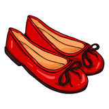 Vector Cartoon Illustration - Pair of Women Ballet Flats. Vector Cartoon Illustration - Pair of Red Women Ballet Flats Royalty Free Stock Image