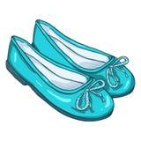 Vector Cartoon Illustration - Pair of Women Ballet Flats. Vector Cartoon Illustration - Pair of Turquoise Women Ballet Flats Royalty Free Stock Images