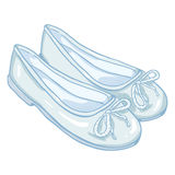Vector Cartoon Illustration - Pair of Women Ballet Flats. Vector Cartoon Illustration - Pair of White Women Ballet Flats Stock Photo