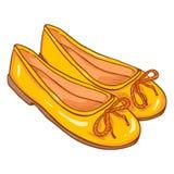 Vector Cartoon Illustration - Pair of Women Ballet Flats. Vector Cartoon Illustration - Pair of Yellow Women Ballet Flats Royalty Free Stock Photo