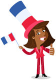 Vector cartoon illustration of patriotic French business woman waving flag celebrating Bastille Day giving thumbs up. Vector cartoon illustration of patriotic vector illustration