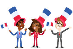 Vector cartoon illustration of patriotic group of French business people celebrating Bastille Day. Vector cartoon illustration of patriotic group of French vector illustration