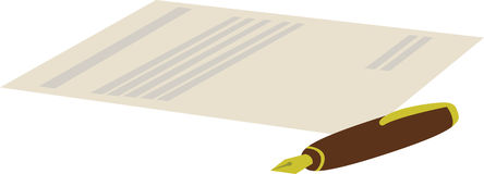 Vector cartoon illustration of pen with contract Royalty Free Stock Image