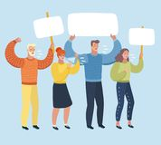 People on strike waving banners picketing and protesting against something. Vector cartoon illustration of People on strike waving banners picketing, shout ft royalty free illustration