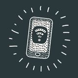 Phone with free wifi on the screen Royalty Free Stock Images