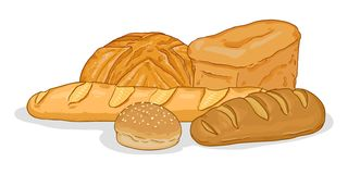 Vector Cartoon Illustration - Pile of Bread Items. On White Background royalty free illustration