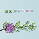 Vector Cartoon Illustration - Pink Carnation. Hand drawn carnation flower background with lettering Believe Stock Photo