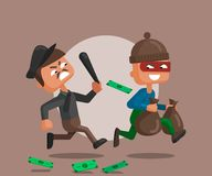 Vector cartoon illustration of a police officer and thief stock illustration