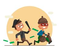 Vector cartoon illustration of a police officer and thief. Vector cartoon illustration of a police officer chasing after and trying to catch a masked thief royalty free illustration