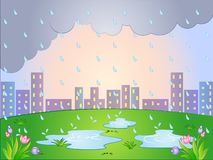 Vector Cartoon illustration of a Rainy Day Royalty Free Stock Images