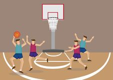 Two Teams of Basketball Players in Basketball Court Vector Illus royalty free illustration