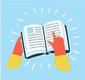 Hand pointing at a book icon , vector illustration royalty free illustration