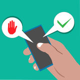 Vector cartoon illustration of right hand holding handphone with Yes or no choice. Illustration in vector format Stock Image