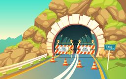 Vector background with roadwork in tunnel, highway. Vector cartoon illustration of roadwork in tunnel, highway. Repair signs, roadblock, detour, traffic cones Royalty Free Stock Images