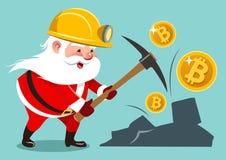 Vector cartoon illustration of Santa Claus wearing mining helmet. Working with pickaxe mining golden bitcoins Royalty Free Stock Photos
