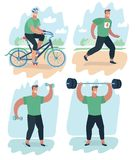 Set of man doing warm-up and exercises. Vector cartoon illustration of scene set of man doing warm-up and exercises with barbell and dumbbells, riding bike and Royalty Free Stock Photos