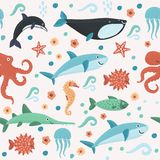 Seamless pattern with colorful sea creatures. Vector cartoon illustration of seamless pattern with colorful sea marine creatures Royalty Free Stock Images