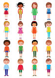 Vector cartoon illustration of a set of different kids girls and. Boys on a white background Stock Photo