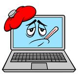 Sick Laptop. A vector cartoon illustration of a sick Computer Laptop mascot