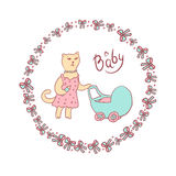 Vector cartoon illustration of a sketch in pastel colors. Mama cat walking with a baby stroller. Round frame with bows. And balls Royalty Free Stock Photos