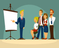 Vector cartoon illustration of a smart businessman in the office a presentation Stock Images