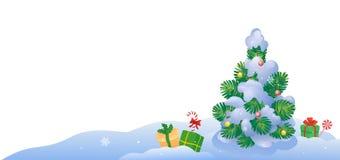 Small Christmas tree outdoors stock illustration