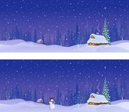 Snowy night banners. Vector cartoon illustration of a snow covered village in a forest, panoramic banners royalty free illustration