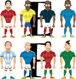 Vector cartoon illustration of soccer players, isolated Stock Photos