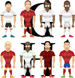 Vector cartoon illustration of soccer players, isolated Royalty Free Stock Image