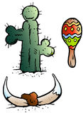 Vector Cartoon illustration of some Mexico elements like, Maraca, Bull Horn and a Catus Royalty Free Stock Image