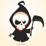 Vector cartoon illustration of spooky Halloween death with scythe, skeleton character icon Stock Images