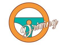 Vector Cartoon Illustration Of Steering Wheel. Lettering driving. Isolated on white background stock illustration