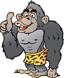 Vector Cartoon illustration of a Strong Gorilla giving Thumb Up Stock Image