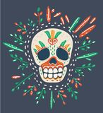 Sugar skull on dark vector illustration