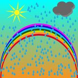Vector cartoon illustration of a summer scenery with a rainbow after rain and an umbrella on a green meadow Royalty Free Stock Photos