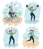 Woman exhausted by sports on training. Vector cartoon illustration training. Annoyed woman making perfect body. Dumbbell, barbell, bicycle, running, anaerobic Royalty Free Illustration